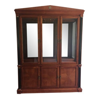 Ethan Allen Medallion Collection Cherry Breakfront China Cabinet