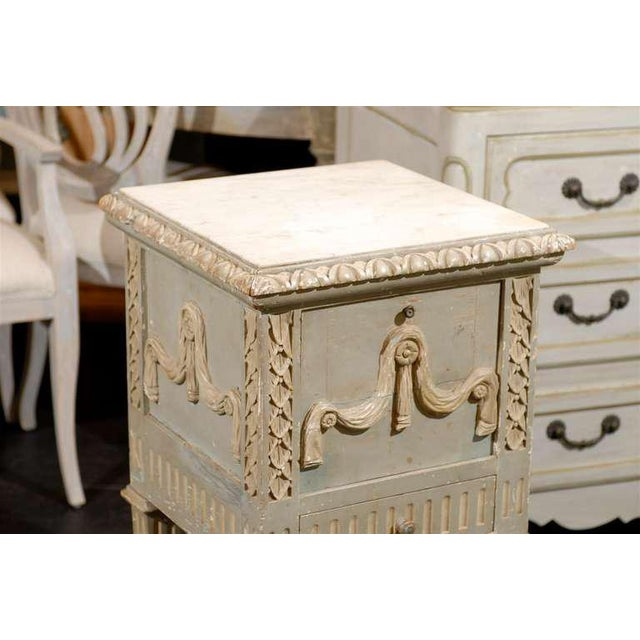 French Drop-Front Nightstand Table on Casters and Marble Top For Sale - Image 9 of 11