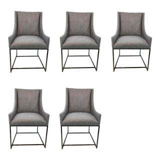 Organic Modern Caracole Prototype Gray Linen Blend Dining Chairs Set of Five For Sale