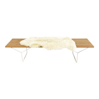 Harry Bertoia for Knoll Slat Bench With Brazilian Sheepskin For Sale