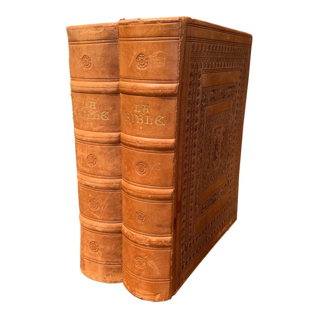 Mid-Century French Leather Bound Two-Volume Holy Bible Dated 1953 - Set of 2 For Sale