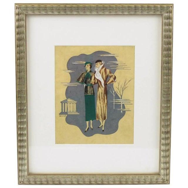 Edouard Halouze French Art Deco Fashion Illustration Drawing - Image 7 of 7
