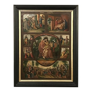 Antique Framed Montage of Saint Joseph's Life Oil Painting For Sale