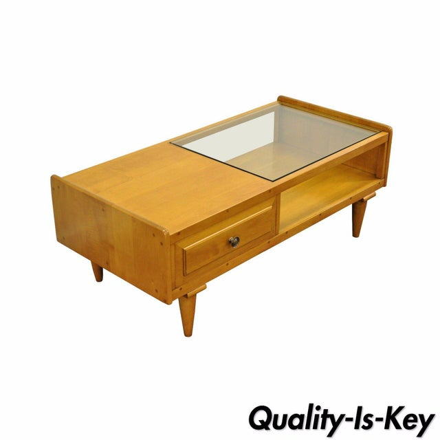 Vintage Mid Century Modern Willett Maple Glass Top Coffee Table - Maple and glass coffee table