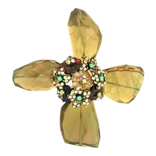 Large Early Iradj Moini Citrine Maltese Cross Brooch/Pendant For Sale