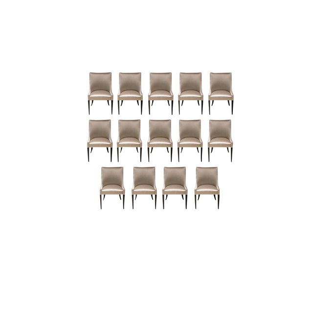 Modern Tan Custom Dining Chairs- Set of 14 For Sale