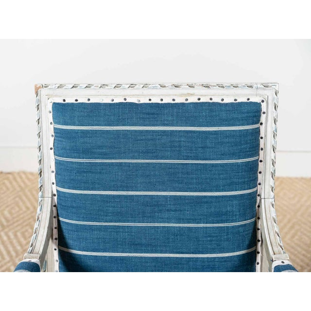 Antique Neoclassical Blue Reupholstered Armchair For Sale - Image 6 of 7