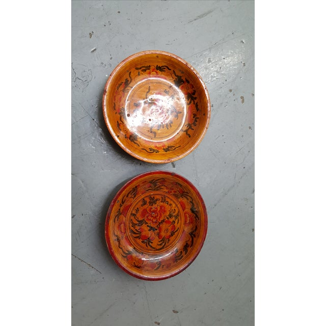 Japanese Wooden Inscribed Bowls - Pair Lacquer Finish - Image 2 of 4