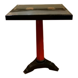 20th Century Art Deco Black and Red Pedestal Cafe Table