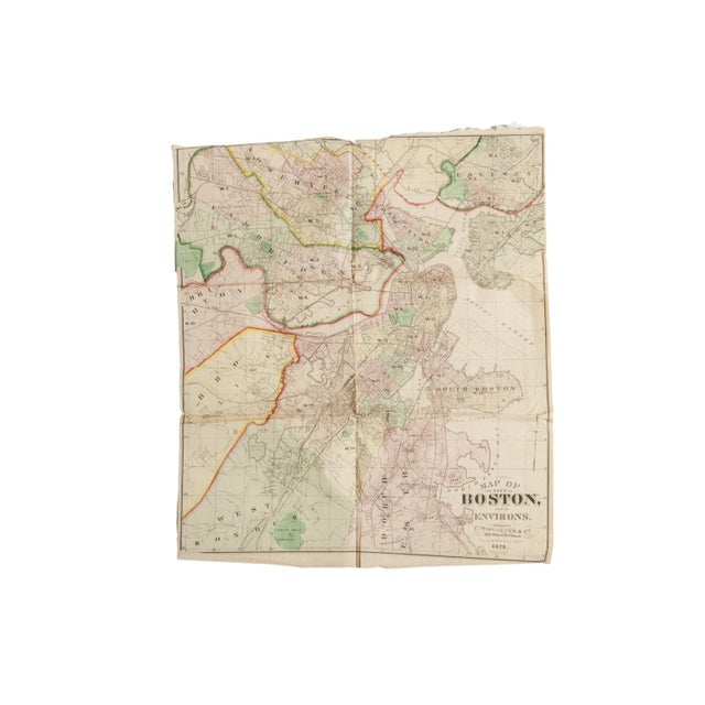 Antique Folding Map of City of Boston and Its Environs 1874 For Sale - Image 10 of 11