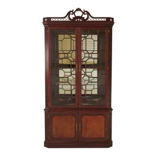 Henkel Harris Chippendale Mahogany Curio Corner Cabinet For Sale