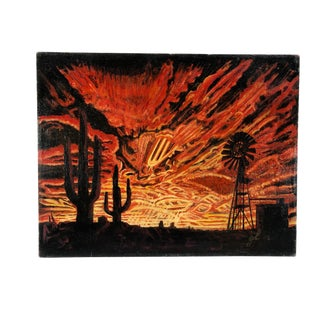 Vibrant 1968 Desert Landscape Advance Flames of Sunrise Painting by Gustin Lehman For Sale