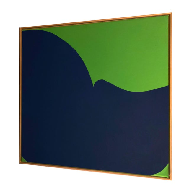 Mid-Century Modern Contemporary Abstract Graphic Mixed-Media Painting by Brooks Burns, Framed For Sale - Image 3 of 5
