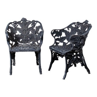 19th Century Cast Iron Fern Pattern Chairs-A Pair For Sale
