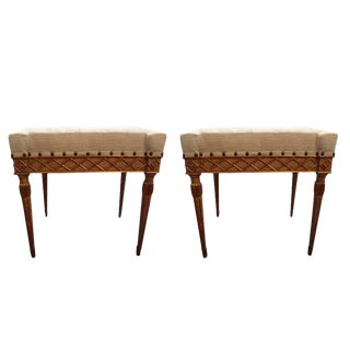 19th Century Italian Painted and Gilt Wood Benches- a Pair For Sale