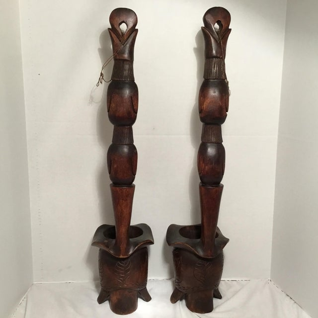 South East Asian Wooden Folk Art Statues For Sale - Image 4 of 11