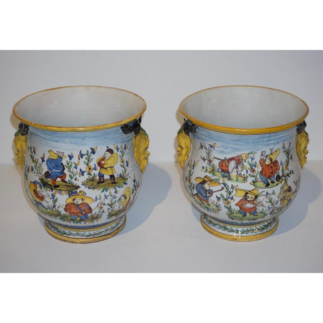 "1872-1876, rare pair of fun French faience cachepots with provenance: the manoir ""La Dijonnerie"" near Bourges, is a..."