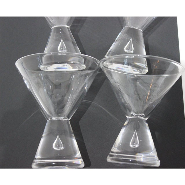 Mid-Century Modern Mid-Century Modern Steuben Martini Glasses Hand-Blown Tear-Shaped Bubble Signed - a Set of 4 For Sale - Image 3 of 11