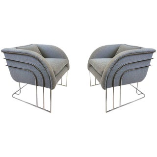 Pair of Rare Chrome Lounge Chairs by George Mergenov for Weiman/Warren Lloyd