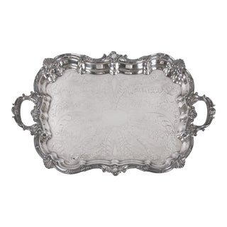 Antique English Silver Plate Footed Serving Tray With Handles For Sale