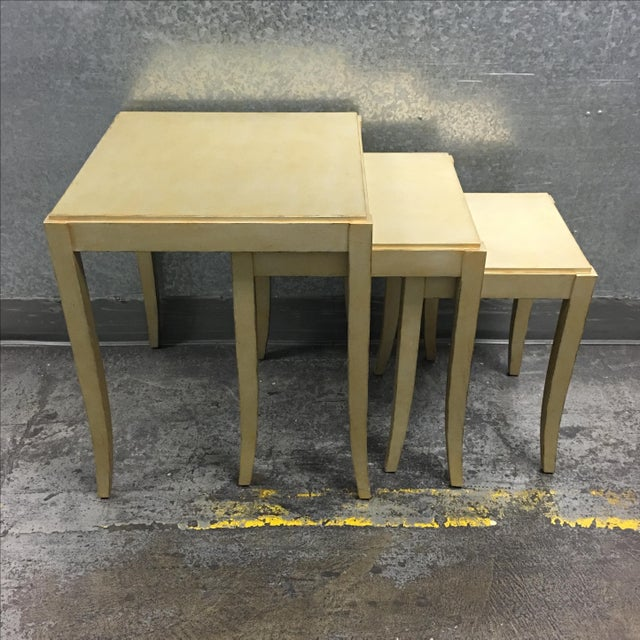 New Loggia Showroom Wooden Nesting Tables With Metallic Finish - 3 - Image 2 of 7