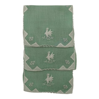 1950s Linen Rooster Cocktail Napkins, - Set of 3 For Sale