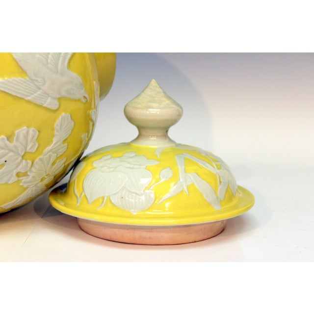 Large Antique Japanese Carved Studio Porcelain Yellow Covered Urn Vase For Sale In New York - Image 6 of 11