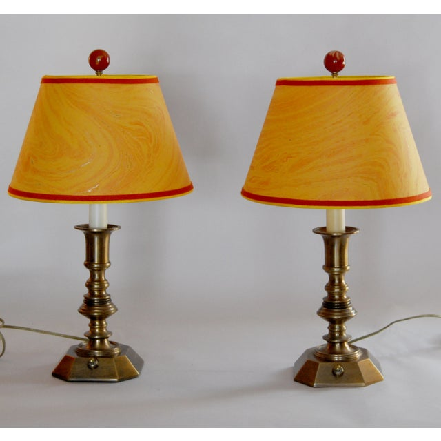 Vintage Brass Desk Lamps & Marble Shades - Pair - Image 2 of 6