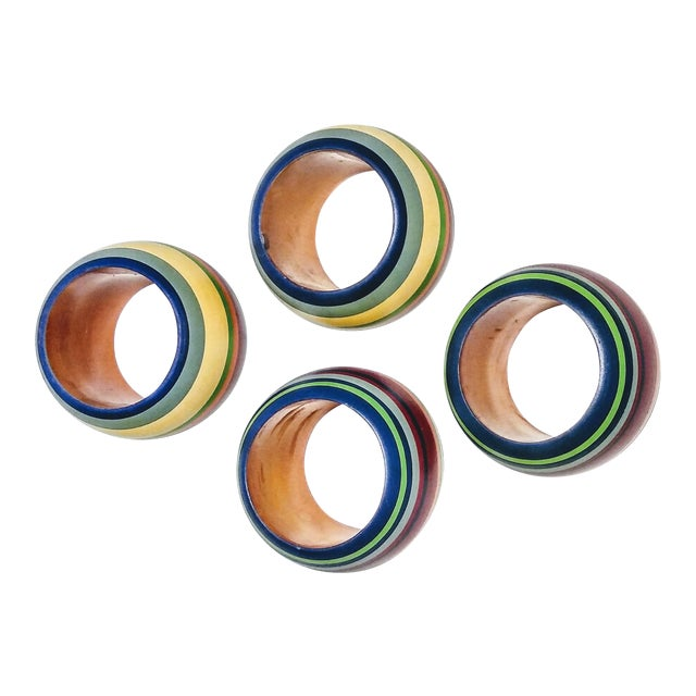 Vintage Round Multi Colored Striped Napkin Rings - Set of 4 For Sale