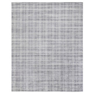 "Cambridge Hand loom Bamboo/Silk Blue/White Rug-6'x9"" For Sale"