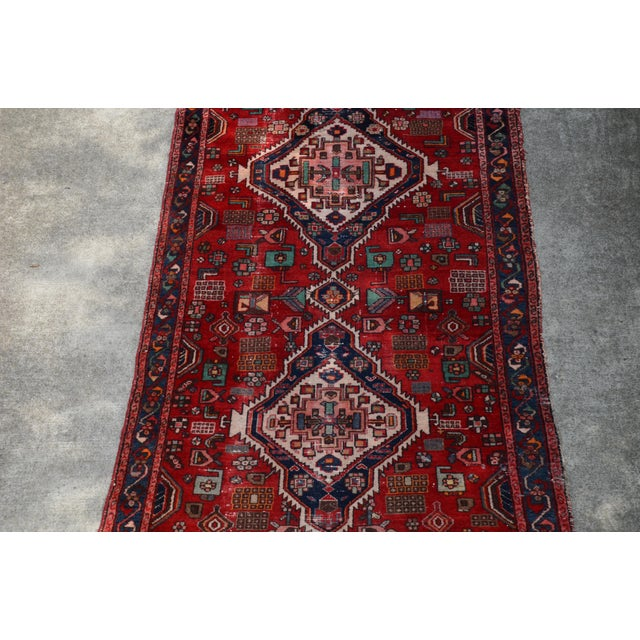 """Extra Large Persian Hand Woven Hamadan Runner - 16' X 4' 8"""" For Sale - Image 4 of 12"""