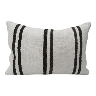 Black & White Traditional Hemp Kilim Pillow For Sale
