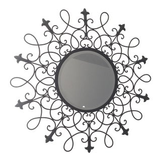 Black Fleur De Lys Decorative Metal Mirror