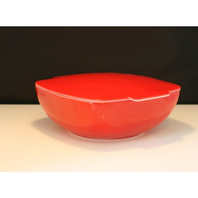 Vintage Large Red Pyrex Square Lidded Hostess Bowl | Chairish