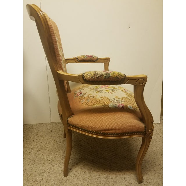 French 19th Century French Needle Point Arm Chair For Sale - Image 3 of 6