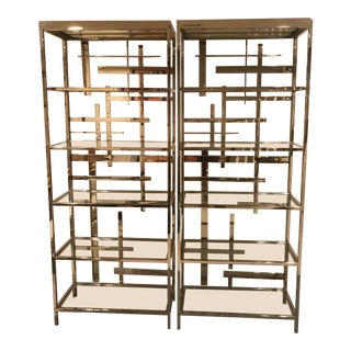 Mitchell and Gold Gold & Glass Bookshelves - a Pair For Sale