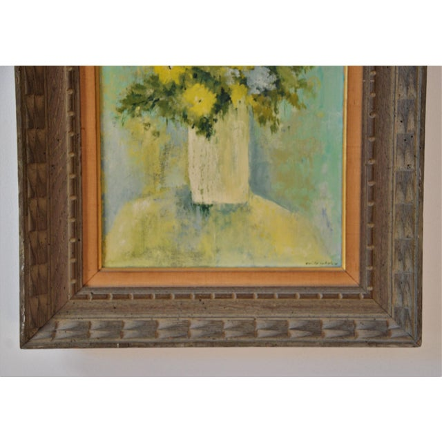 """Mid 20th Century Vintage Framed Mid-Century Flower Painting on Canvas """"White Vase"""" by Emily Whaley For Sale - Image 5 of 11"""