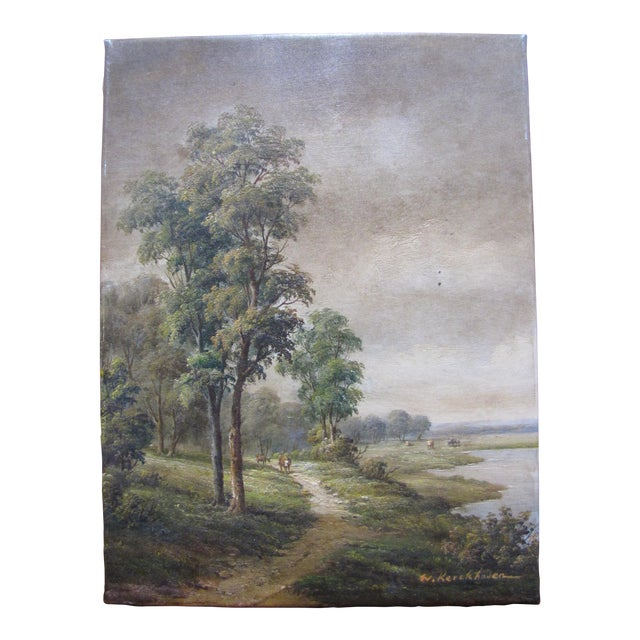 W. Kerckhoven Dutch Landscape Oil on Canvas Original Painting For Sale