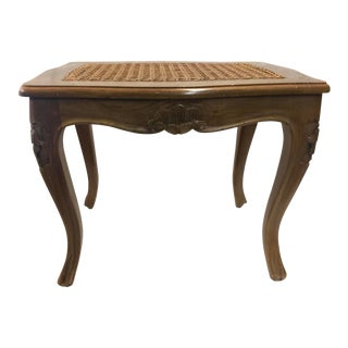 Carved French Footstool Cane Seat For Sale