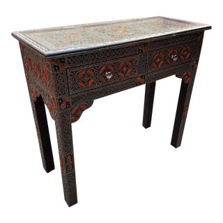 Moroccan Camel Bone & Metal Inlay Console Table