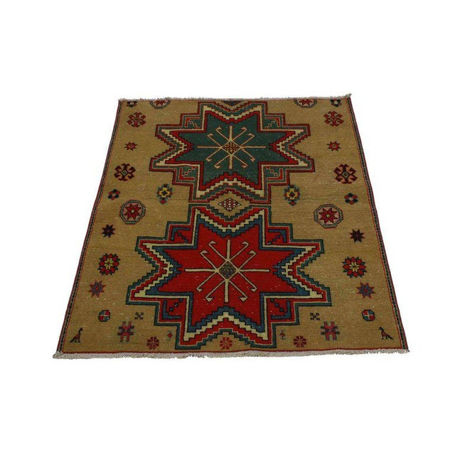 51772, vintage Turkish Oushak rug, tribal rug for kitchen, bath, foyer or entryway. This hand-knotted wool vintage Turkish...
