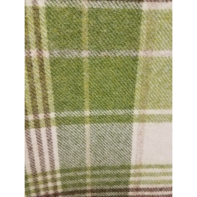 Green Merino Wool Throw Greens Brown and White Plaid - Made in England For Sale - Image 8 of 11