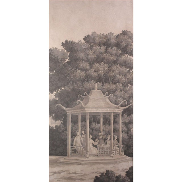 Chinoiserie Large Scale Triptych of Idyllic Scenes of Ancient China, Paintings in Brunaille, Jardins en Fleur Showroom Samples For Sale - Image 3 of 9