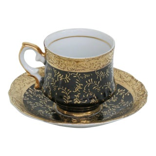 Early 20th Century Black and Gold Porcelain Demitasse Espresso Cup and Saucer - a Pair For Sale