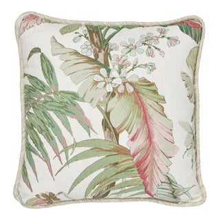 Contemporary Schumacher Tropique Pillow in Blush - - 18ʺW × 18ʺH For Sale