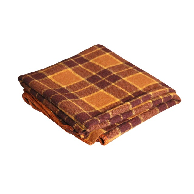 1960s Vintage Royal Robinwul Plaid New Zealand Wool Throw Blanket For Sale