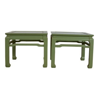 20th Century Asian Green End Tables - a Pair For Sale