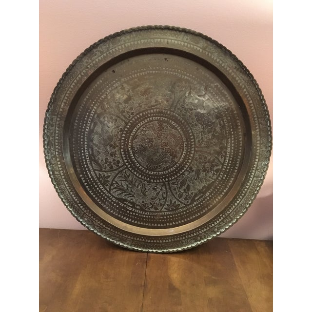 """Large Vintage Mid-Century Chinese Brass Tray 28"""" For Sale - Image 12 of 12"""