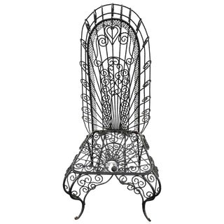 Hollywood Regency Weaved Iron High Back Chair For Sale