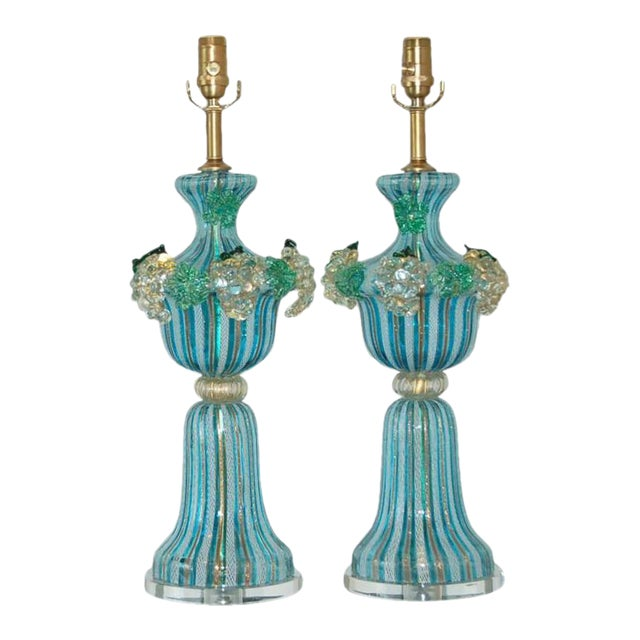 Dino Martens Vintage Murano Glass Table Lamps Turquoise For Sale